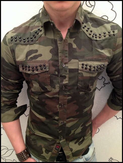 sixth june paris camouflage nato ghetto herren front nieten hemd cottonhemd ebay. Black Bedroom Furniture Sets. Home Design Ideas