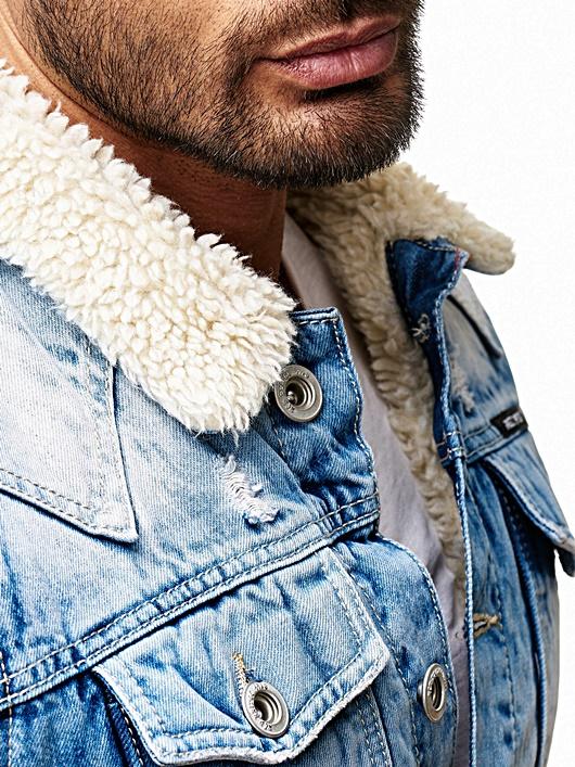 Redbridge Uomo Rocker Biker pelliccia Young Moda Jeans Clubwear Denim Style Giacca