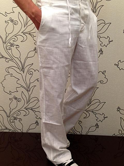 Kickdown Verano Pantalones Lino Para Hombres De Tela Vaqueros Chino Blanco Look Ebay